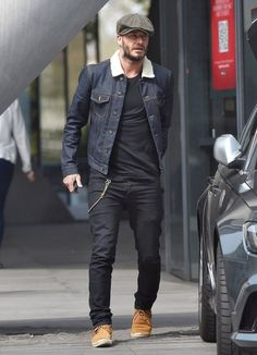 STREETS OF BURBERRY Denim Fashion, Advice, Grey Jeans, Man Jeans, Simple, David Beckham Style, Round Faces, Shearling Coat, Leather Collar