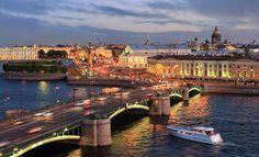 View of Birzhevoy Bridge over the Malaya Neva in St Petersburg, Russia