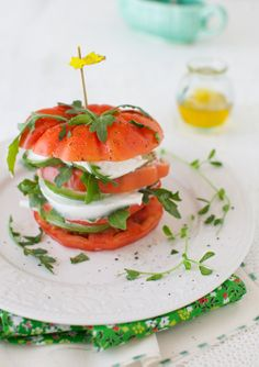 Tomato Salad with Mozzarella & Avocado from melangery.com