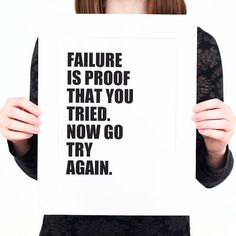 FAILURE Is Proof That You TRIED Digital Print (Mat included) Inspirational Quote Print, Failure Quote, Motivational Quote Print