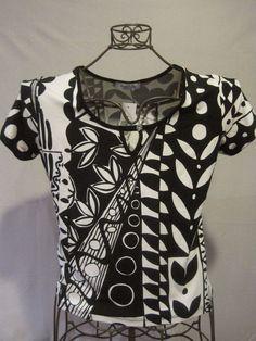 "Misses BARBARELLA Black/White Short Sleeve Blouse Medium 36"" NEW NWT  #Barbarella #Blouse #Career"