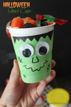 Halloween Snack Cups.  Directions for making a pumpkin, ghost or Frankenstein…