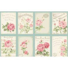 RuRu Rose Postcards panel - Aqua