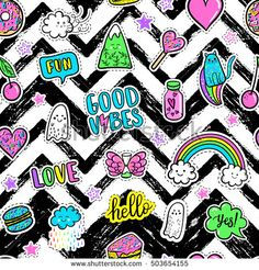 Vector hand drawn fashion pink color patches: rainbow, doughnut, mountain, cat, ghost, cloud, macaron, cake, lollipop, heart seamless pattern. Modern pop art sticker, patches pin, badge 80s-90s style #design #summer #shop #print #fabric #colorful #bright #handmade #paint #designwork #cardcreator #illustration #designinspiration #cards #pattern #patterndesign #graphicdesign #embroidered #patches #diy #funny #cute #cartoon #pingame #jacket #punk