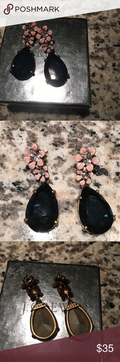 J. Crew Floral Drop Earrings Pink flowers with blue gem. Excellent condition. Stored in original box. J. Crew Jewelry Earrings