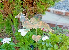 Dachshund Garden Stake / Metal Yard Art / Garden Art / Pet Memorial / Copper / Patina / Grave Marker / Long Hair / Wiener Dog / Home Décor