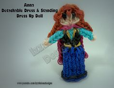 Rainbow Loom Princess ANNA Figure (Frozen) - Detachable Skirt & Standing Dress Up Doll. Designed and loomed by Kate Schultz of Izzalicious Designs. Click photo for YouTube tutorial. 04/22/14.