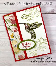This Thinking of You card uses Stampin' Up!'s A Touch of Ink Saleabration stamp set.  It also uses the Double Oval Punch and Fine Art Floral Designer Series Paper.  Video and supply list on the blog!  #SaleABration #StampinUp #StampTherapist   Bird Cards, Butterfly Cards, Flower Cards, Cricut Cards, Stampin Up Cards, Card Making Tutorials, Making Ideas, Hummingbird Drawing, 21 Cards