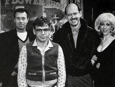 David Geffen, Frank Oz, Ellen Greene and Rick Moranis on the set of Little Shop of Horrors Ellen Greene, Original Ghostbusters, David Geffen, Rick Moranis, Frank Oz, Zombie Prom, Little Shop Of Horrors, Warner Brothers, Jim Henson
