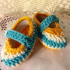 Baby Booties Slipper Slip-on Mary Jane Teal White Orange Baby Girl 0-3 month Size