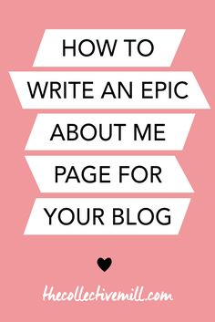 "How to Write an Epic About Me Page: Your about me page is one of the most important pages on your blog. Not only is it one of the most popular pages, it's also the page that will make your audience fall in love with you and want to keep coming back for more. If you're writing your about me page for the first time, or want to spruce it up, make sure it's an epic one. Click the link to find out how. <a href=""http://TheCollectiveMill.com"" rel=""nofollow"" target=""_blank"">TheCollectiveMill...</a>"