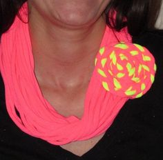 Hot Pink Infinity T-shirt Scarf with Hot Pink and Neon Yellow Braided T-shirt Flower Alligator Clip