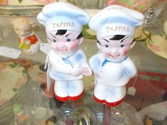 A Salt and Pepper set straight from the world of Tappan stoves and appliances. These two charming young fellows are labeled on the tops of their Chef's hats as to which is which. A collector's dream, see them in Glass Case 321 at the KC Brass Armadillo, 888-847-5260. Help find these boys a home!