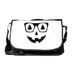 Pumpkin with glasses Messenger Bag