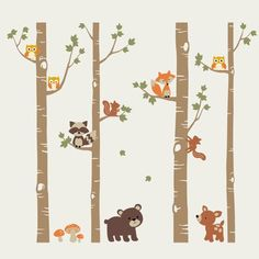 "SimpleShapes Birch Trees with Cute Forest Animals 112' x 108"" Wall Mural Color: Light Brown, Size: 96"" H x 112"" W"