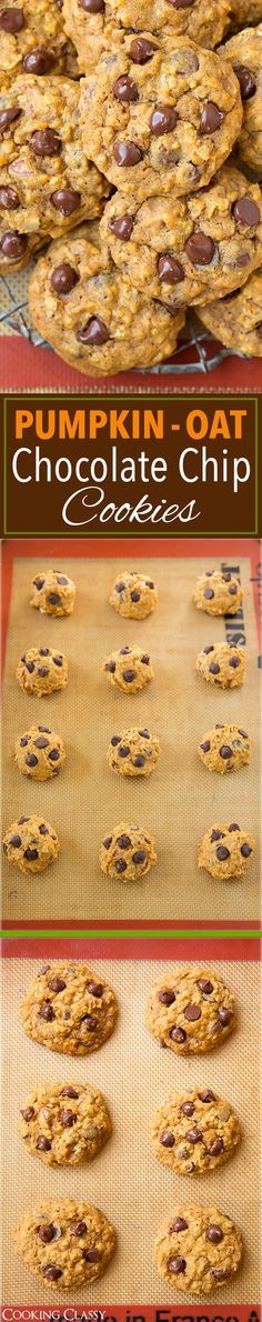 Pumpkin Oat Chocolate Chip Cookies - these cookies have gotten RAVE reviews! A fall fav!!