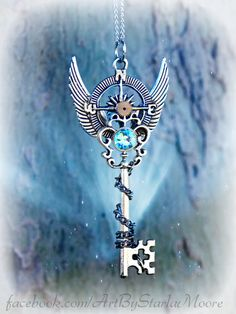 Winter Quest Fantasy Key Pendant OOAK Fashion by ArtbyStarlaMoore, $20.00
