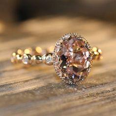 Floral Morganite Engagement Ring in 14k Rose Gold Diamond Pebble Ring 9x7mm Oval Pinkish Peach Morganite Wedding Ring (Bridal Set Available)...