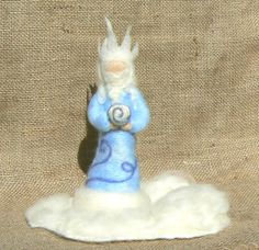 King Winter Blue and White Needle Felted by CloudBerryCrafts,