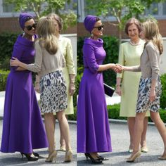 Spanish Royals welcomed Sheikha Mozah  for the State Visit lunch at Zarzuela Palace in Madrid, Spain back in  2011. She was greeted by back-then Princess Letizia (now Queen of  Spain). Sheikha Mozah wore this sensational purple couture dress from  Ralph & Russo, the whole look is so chic and classic.