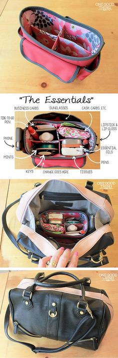 Use a craft store organizer to tidy up purse contents and make it easy to switch between bags - this one from Michael's for $9.99. Try the dollar store too.
