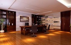 modern ceo office interior design - slightly reflective floor brightens up a wood theme, light wall sections look more modern, plant accents