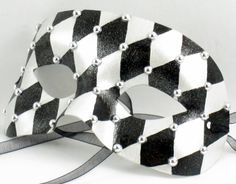 Black and White Harlequin Unisex Masquerade Mask. $30.00, via Etsy.
