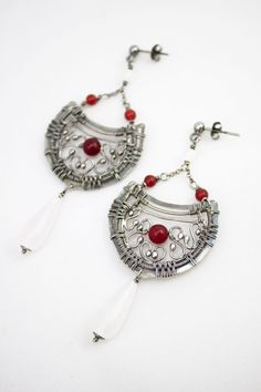 Fineme - long, romantic wire wrapped silver earings with red jade, white moonstone and milky drop of quartz