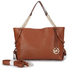 Michael Kors Patent Set Chain Large Brown Tote