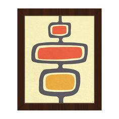 "Click Wall Art Shape Stand Orange Framed Graphic Art on Canvas Size: 14"" H x 11"" W x 1"" D, Frame Color: Espresso"