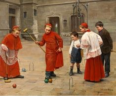 """Croquet"" by James Jacques Joseph Tissot my second favorite. The color is rich and the children look so happy. Catholic Art, Roman Catholic, Religious Art, Religious Images, Wow Art, Christian Art, Modern Man, Altar, Les Oeuvres"