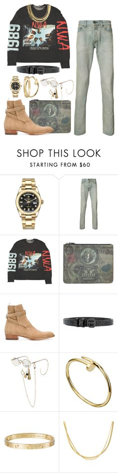 """Express Yourself"" by stylinwitdre ❤ liked on Polyvore featuring Rolex, John Elliott, Givenchy, Yves Saint Laurent, Haider Ackermann, Jean-Paul Gaultier, Cartier, Marco Bicego, men's fashion and menswear"