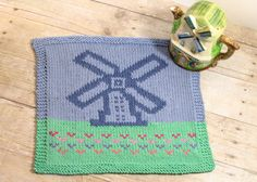 A pretty windmill scene ... FREE charted pattern to knit or crochet. #petalstopicots #petalstopicotscrochet #p2pFiberArtsCommunity #petalstopicotsknit