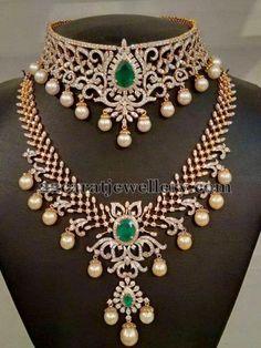 Jewellery Designs: Most Elegant Diamond Choker and Long Set