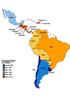 Latin American countries by percentage who say wives should always obey their husbands. [[MORE]]nahuelacevedopena: % who agree that wives are obligated to obey their husbands: Uruguay: Chile:. Funny Slogans, American Country, Practical Gifts, Puerto Rico, Nerd, Mexico, Countries, History, Geography