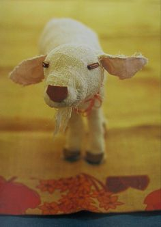 Japanese postcard lamb by Miyako Kanamori  too cute toy idea.