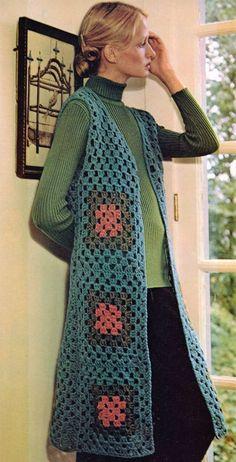 Crochet Vest Pattern, Crochet Tunic, Cardigan Pattern, Jacket Pattern, Crochet Clothes, Crochet Vests, Granny Square Sweater, Sunburst Granny Square, Granny Square Projects