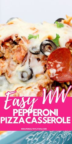 Easy Weight Watchers Pepperoni Pizza Casserole is my new favorite comfort food this month. It's a combination of macaroni and cheese and pizza! Do I need to say more! Weight Watchers Cheesecake, Weight Watchers Pizza, Weight Watchers Casserole, Weight Watchers Meal Plans, Weight Watcher Dinners, Entree Recipes, Ww Recipes, Cooking Recipes, Healthy Recipes