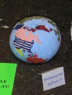 Globe decorated pumpkin at The Big E in 2008!