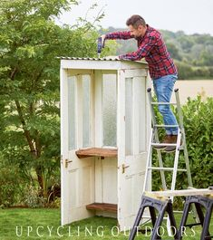 How to Make a Potting Shed from Old Doors Make your own mini door shed with this tutorial from the book Upcycling Outdoors.