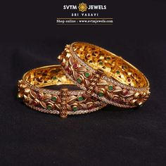 This yellow gold bangles studded with Cubic Zircone,Ruby Stones a beautiful piece of art to dress up your lovely hands. Plain Gold Bangles, Ruby Bangles, Gold Bangles Design, Gold Plated Bangles, Jewelry Design, Gold Bangle Bracelet, Bangle Set, Gold Jhumka Earrings, Hand Jewelry