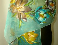 Natural silk shawl floral ocean blue hand painted by Studijakalla