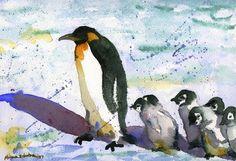 Penguin Picture, watercolor print of bird wildlife art print Watercolor Peacock, Watercolor Animals, Watercolor Print, Watercolor Paintings, Painting Art, Watercolor Artists, Penguin Pictures, Penguin Art, Bird Drawings