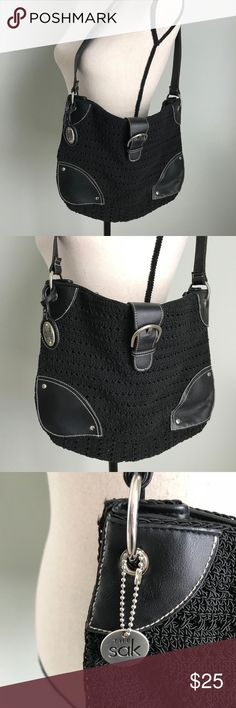 """The Sak Black Woven Crochet Purse Buckle The Sak Black Woven Crochet Purse Bag Shoulder Bag Buckle with Snap Closure measures 9"""" deep/high strap drop measures 12"""" width measures 14"""" The Sak Bags Shoulder Bags"""