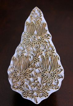 Handmade Indian Wood and Brass Textile Stamp by charancreations, $51.00