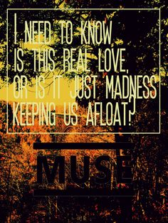 I need to know is this real love.. or is it just madness keeping us afloat.. ?  ~MUSE