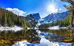 Télécharger fonds d'écran Rocky Mountain National, hiver, lac, forêt, Colorado, états-unis, l'Amérique