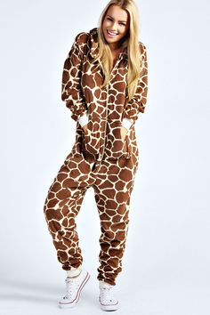 Giraffe Print Animal Onesie at boohoo.com