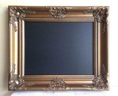 Magnetic Chalkboard 17 X20 Gold And Black Wedding Sign Bar Menu Vintage Framed Kitchen Decor Antique