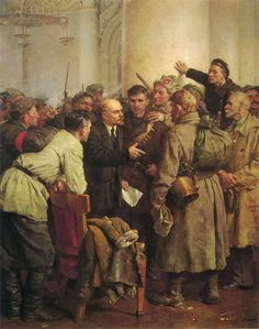 1957 IN THE SMOLNI by by Vladimir Serov (Emmaus, Tver Province 1910~1968 Moscow), apologist Soviet Art  | pin made by RomANikki